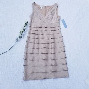 NWT London Times Tiered Champagne Dress Size 8